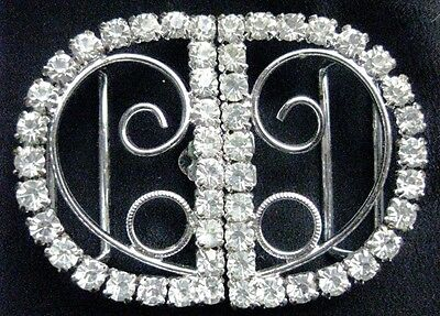 Vintage Silver Diamonte Belt Buckle