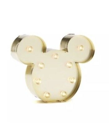 Disney Mickey Mouse Marquee Light Up Hanging Wall Gold Wall Sign Mini