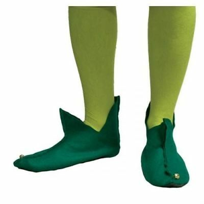 Adults Green Elf Boots Shoes Bells Christmas Fancy Dress