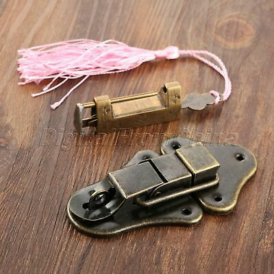 Retro Excellent Carved Bird Flower Leaf Padlock Key & Toggle Latch Hasp Latches