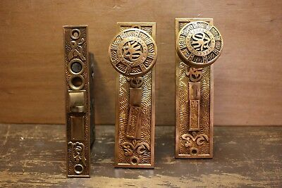 Antique Victorian Eastlake Mallory Wheeler Bronze Door Knob Escutscheon Mortise