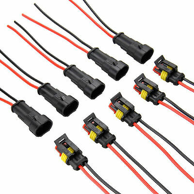 5x 2Pin Car Waterproof Electrical Connector Plug with Wire AWG Marine 10cm WF PL