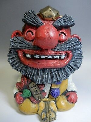 "Japanese Seto Flok Craft Clay Ceramic Ningyo Doll Tengu Big Nose H20cm 8"" 1080g"