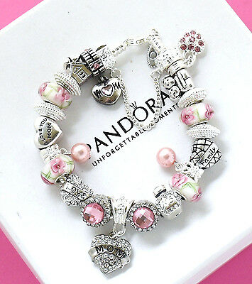 Authentic Pandora Bracelet Silver with MOM Pink Pearl European Charms Mother Day