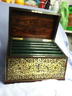 Antique Boulle 19Th Century Inlayed Stationary Box