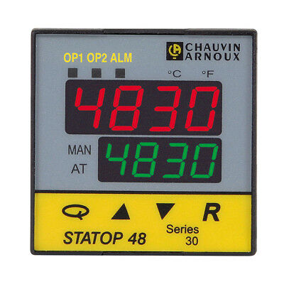 Pyro Controle STATOP 48 PID Temperature Controller, 48 x 48mm, 2 Output Relay