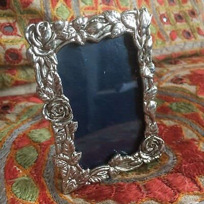 Very Pretty Vintage Silver Floral Photo Picture Frame Roses Antique Art Nouveau?