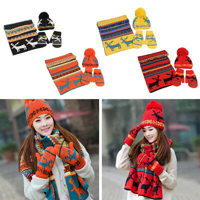 Xmas Scarf Hat Gloves Set Womens Warm Knitted Beanie Cap Knit Scarves Winter US