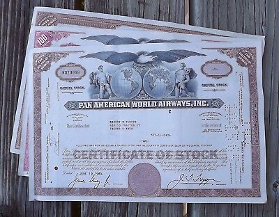 Three Vintage Stock Certificates - 1 Railroad 2 Airline -->Great Graphics