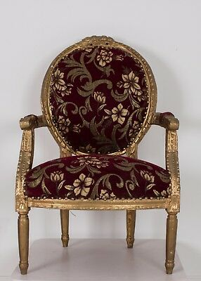 French Louis Armchair Floral Gold Shabby Chic Bedroom Hallway Wooden Frame Chair