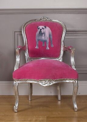French Louis Armchair Pink Silver Shabby Bull Dog Hallway Bedroom Frame Chair
