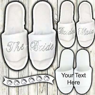 Personalised Slippers Diamantes Wedding Spa Guest Shoes Towelling Super SILVER