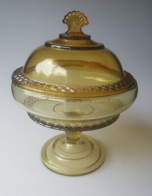 Antique EAPG Bryce Higbee Earl or Spirea Band tall covered compote 2-tone amber