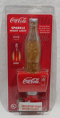 Coca Cola Sparkle Bottle Shaped Night Light Continuous Motion On Off Switch NEW