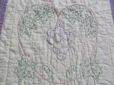 Antique lavender grape vine embroidered hand quilted quilt
