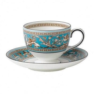 Wedgwood Florentine Turquoise Leigh Teacup & Saucer - Set of 4