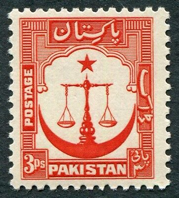 PAKISTAN 1948-57 3p red SG24 mint MNH FG PERF 12.5 Scales of Justice #W50