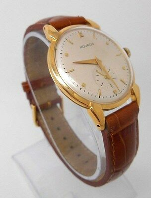 Vintage 14K Gold MOVADO Mechanical Men's Wristwatch - Very Good!  Just Serviced!
