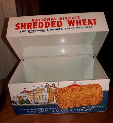 Vintage Nabisco National Biscuit Shredded Wheat metal Recipe Tin box