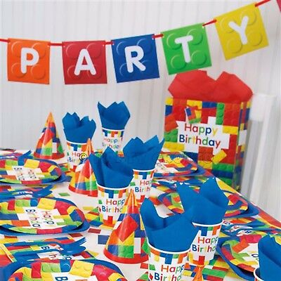 Building Blocks Boys & Girls Birthday lego Party Supplies Tableware Decorations