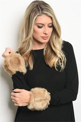 Women's Fashion Faux Fur Wrist Cuff Bracelet Set NWT