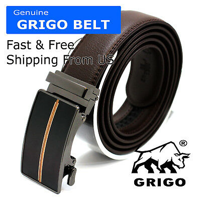 Fashion Genuine Leather Men Automatic Click Buckle Waist Comfortable Strap Belt