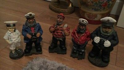 Vintage Job Lot Collection of 5 Nautical Sailors Fishermen Ornaments