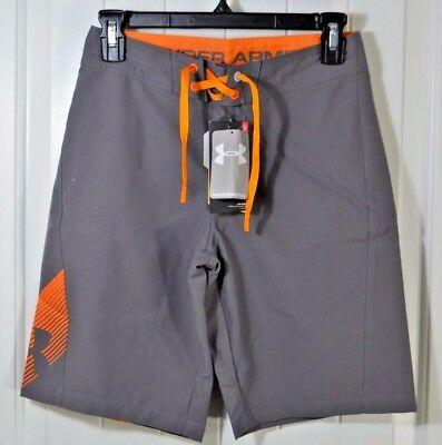 Nwt Boys Under Armour Storm Gray Swimming Suit Trunks Board Shorts Sz 27-30