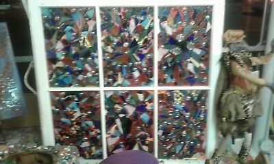 Vintage Stained Glass Abstract Window 31 1/4 wide X 31 1/8 inches tall
