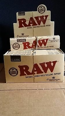 2x Packs ( RAW Classic Connoisseur King Size Slim ) Rolling Paper Papers + Tips