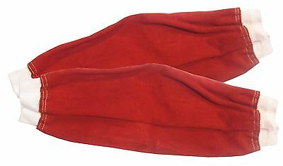 "18"" Red Chrome Leather Welders Sleeves elasticated cuff for Welder / Blacksmith"