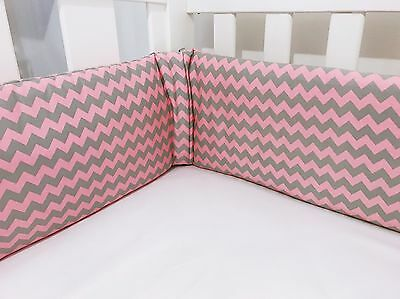 Pink And Grey Chevron Baby Cot Bumpers