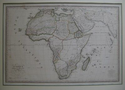 Original Hand Color 1819 Lapie Map AFRICA Afrique Engraved Large-Format Blondeau