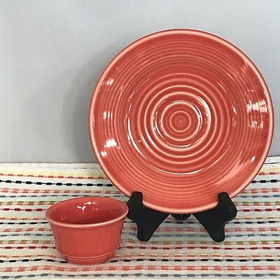Homer Laughlin China Salad Plate and Dip Cup HLC Small Soup Cup Fiesta Persimmon