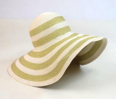 7fa477b43 TARGET WHITE & Gold Metallic Stripe Floppy Wide Brim Sun Beach Hat 21