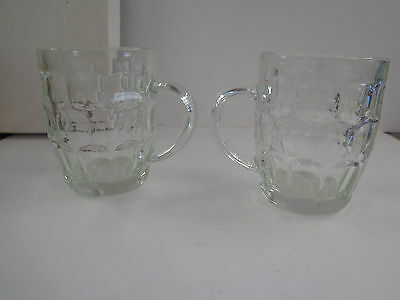 ARCOROC France Pair Of Clear Thumbprint Glass Mugs | PicClick