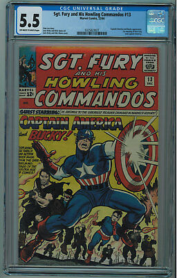 Sgt. Fury And His Howling Commandos #13 Cgc 5.5 Captain America Ow/w Pgs 1964