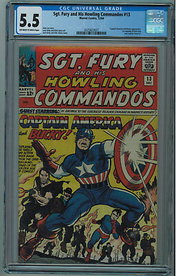 Sgt. Fury And His Howling Commandos Cgc 5.5 Captain America Ow/w Pgs 1964