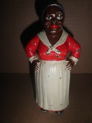 Great old original cast iron Mammy Hands on Hips still penny bank 1914 - 1946