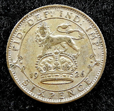 1926 UK Great Britain Six Pence Coin  KM#815a.2  SB3346