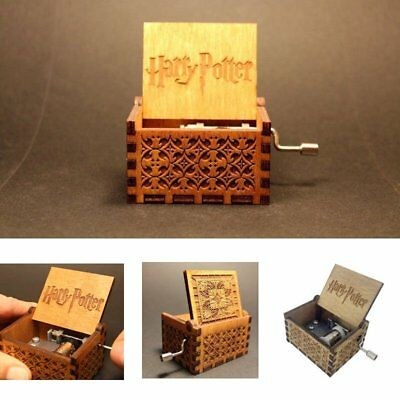 Harry Potter Wooden Engraved Hand-cranked Music Boxs Interesting Toys Xmas Gift