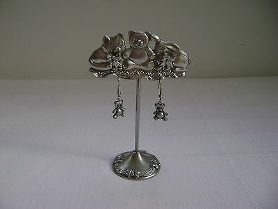 Vintage 1990 Seagull Pewter KITTY TEDDY BUNNY Earring Stand + Earrings