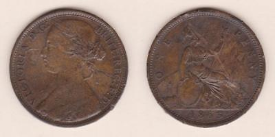 Great Britain One Penny 1863 - Cracked Planchet  ---  Gbaf