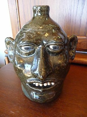 Incredible RARE LANIER MEADERS-White Cty, GA -Smaller size Pottery Face Jug-MINT