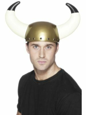 Smiffys Viking Helmet, Gold, with Large Horns - Unisex - One Size