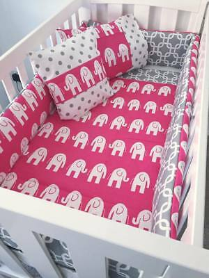 Gorgeous Baby Girl Pink And Grey Elephants Bumper Quilt Set