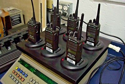 6 UHF CP185 2-Way Radios w/Motorola Multi Charger - Most Have Been Engraved