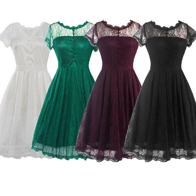 Housewife Vintage Lace Backless 50'S Swing Pinup Elegant Evening Party Dress