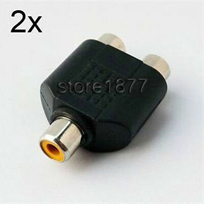 2pcs RCA Female to 2 RCA Female Split Connector Adapter Plug s629