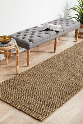 Grey Natural Sisal Floor Rug Mat 80x400cm Runner Boucle Modern Flatweave